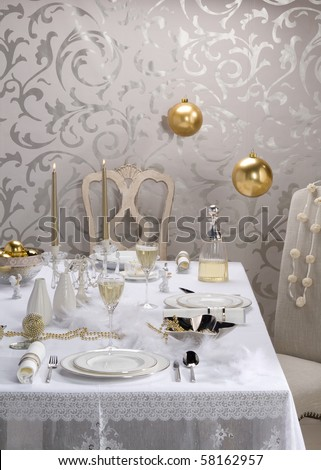 white christmas table setting - stock photo