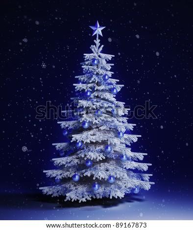 White christmas tree - stock photo