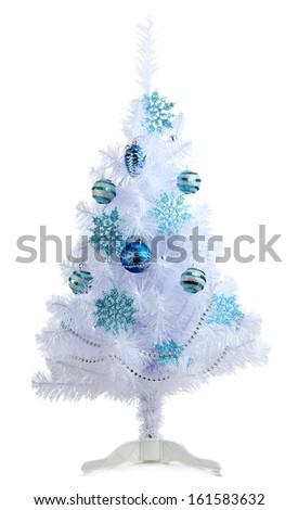 White Christmas tree isolated on white - stock photo