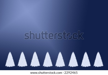 White christmas trees on blue backgound