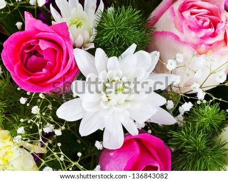 white chrysanth and pink roses in flower bouquet - stock photo