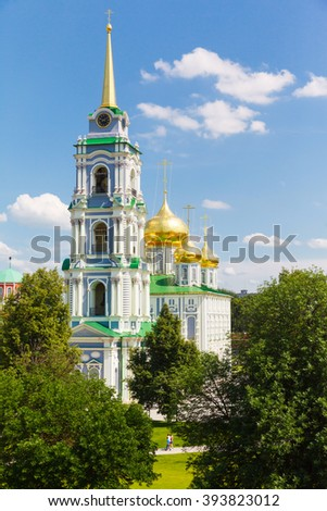 white church Assumption Cathedral on a background of blue sky in the town of Tula, Russia - stock photo
