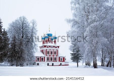 White church in winter in Uglich  - stock photo
