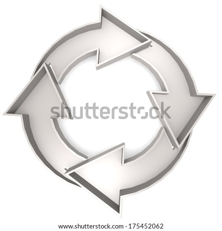 White Circle chart with 4 arrows - stock photo