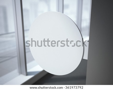 White circle signboard in the office interior. 3d rendering