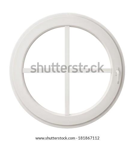 white circle window frame isolated on white background - stock photo