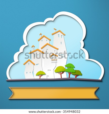 White city. Illustration of a paper city at summer day, with buildings, trees and blue sky in the background. Empty space with ribbon leaves room for design elements or text. Urban city Background.  - stock photo
