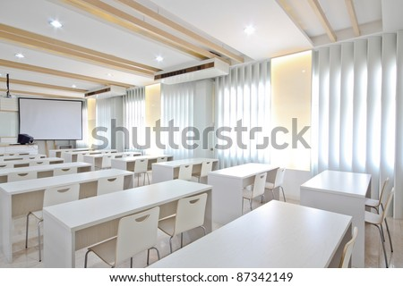White class room. - stock photo