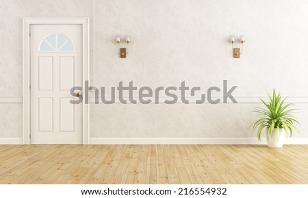 White classic home entrance with closed door - rendering - stock photo
