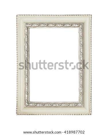 White classic painting canvas frame isolated on white background - stock photo