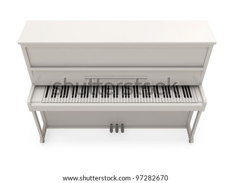 White Classic Piano isolated on white background - stock photo