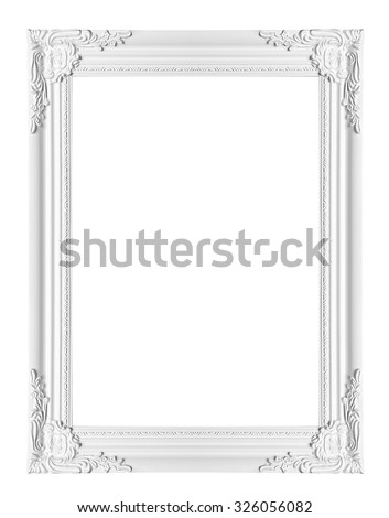 white classical vintage frame on white background - stock photo