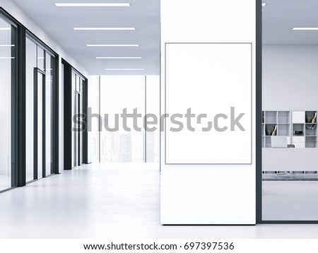 White clean interior with blank banner on the wall. 3d rendering