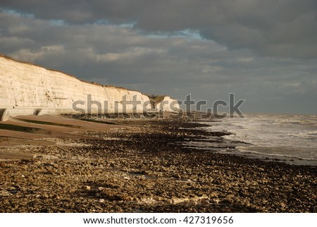 White Cliffs Under a Dramatic Sky