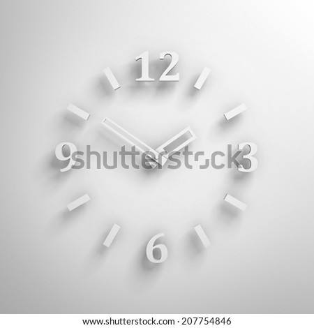 white clock face on wall with shadow. time concept 3d render illustration - stock photo