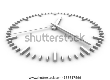 white clock perspective view