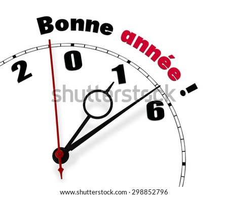 White clock with words Bonne annee 2016 - stock photo