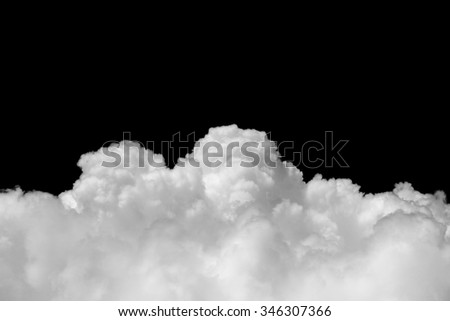 White cloud on black background - stock photo