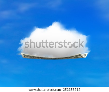 White cloud on money flying carpet, with blue sky background. - stock photo