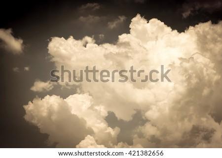White cloud with dark sky. - stock photo