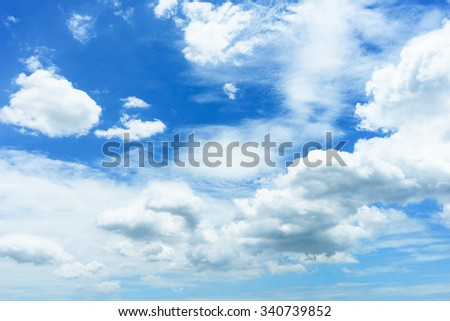 White clouds and blue sky, clouds and sky for background