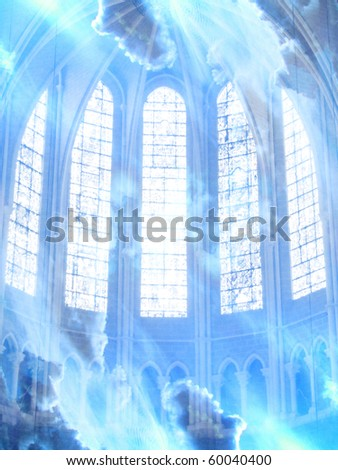 white clouds and inside of a cathedral as a representation for heaven - stock photo