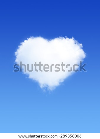 White Clouds In Shape Of Heart on Blue Sky - stock photo