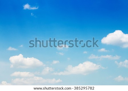 White clouds in the blue sky , Sky background