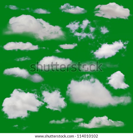 White clouds isolated. Cut Out over green chroma background. Extracted cloud collection - stock photo