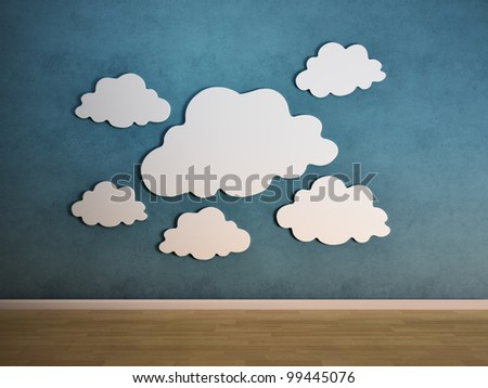 White clouds on a wall - interior view - stock photo