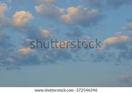 White clouds with blue background in the morning.