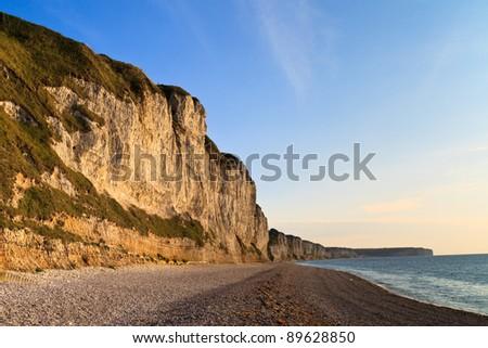 White Coastal Cliffs near Etretat and Fecamp, Normandy, France - stock photo