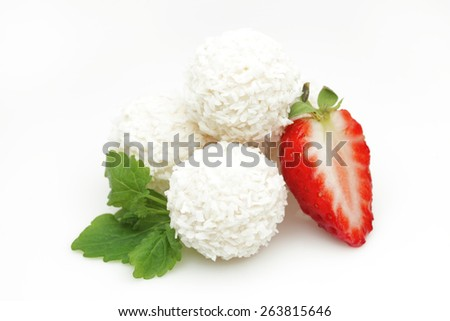 White coconut candy with strawberry - stock photo