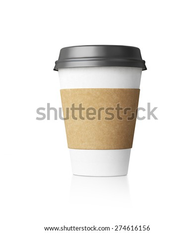 White coffe cup isolated with black top. 3d rendering