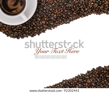 white coffee cup and beans on white background - stock photo