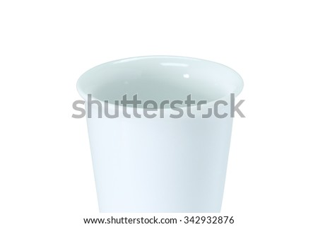 White coffee cup. Coffee cup isolated.  Coffee cup. Clipping path coffee cup. Blank coffee cup isolated. Empty coffee cup isolated. Drink cup isolated. Opened coffee cup. Ceramic coffee cup. Cafe cup - stock photo
