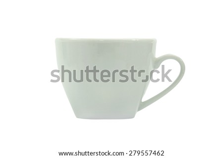 White coffee cup isolated on white background. - stock photo