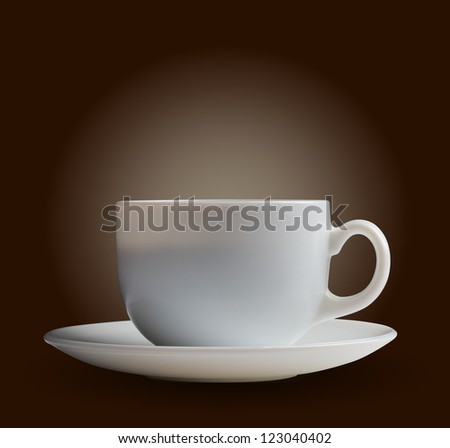 white coffee cup on brown background
