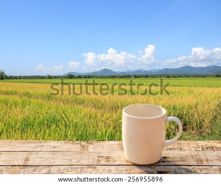 White Coffee cup on wooden table with green paddy rice and blue sky background - stock photo