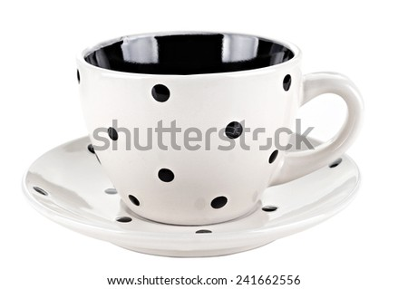 White coffee cup or tea cup isolated on white background - stock photo