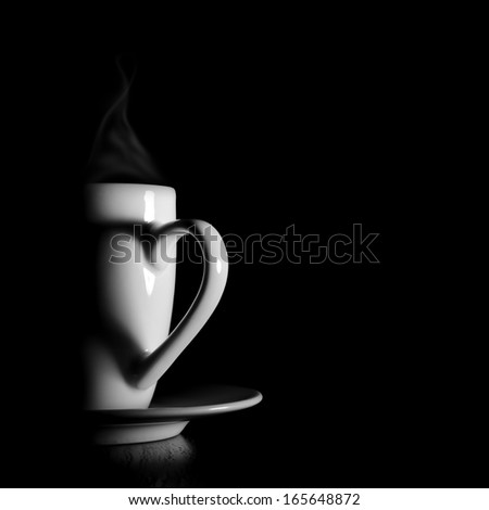 White coffee cup with shadow from handle in heart form - stock photo