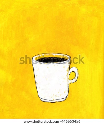 White coffee mug painted on yellow acrylic background. Illustration for cooking site, menus and food designs. - stock photo