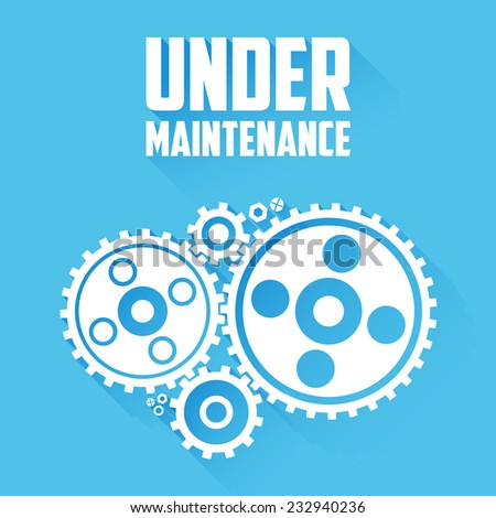 White Cogwheels isolated on a blue background. Under maintenance website page message. Flat style with long shadows. Modern trendy design. Raster copy. - stock photo