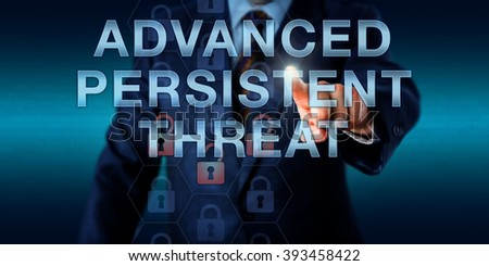 White collar cyber criminal is pushing ADVANCED PERSISTENT THREAT on a touch screen. Information technology and computer security concept for an ongoing hacking process remaining undetected for long. - stock photo