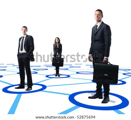 white collar worker standing on a virtual connection web - stock photo