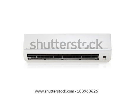 White color air conditioner machine isolated on white background  - stock photo