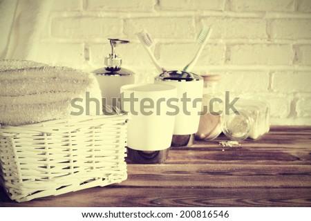 white color of bathroom  - stock photo