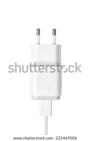 white color smartphone charger isolated on white - stock photo