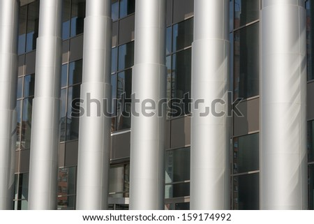 White columns and modern building