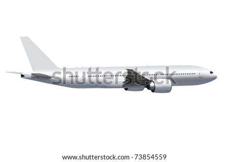 white commercial airplane on white background with path - stock photo